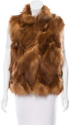 Cassin Sherry Sable Fur Funnel Collar Vest