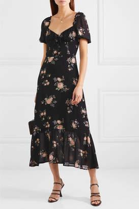 Reformation Cabernet Floral-print Georgette Midi Dress - Black