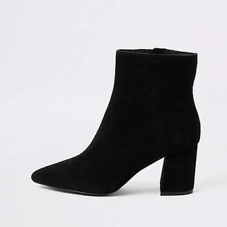 River Island Black suede pointed toe block heel boots
