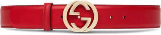 Leather belt with interlocking G $360 thestylecure.com