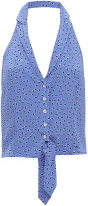 Intermix Dottie Blue Halter Blouse