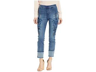 FDJ French Dressing Jeans Statement Denim Ombre Floral and Hem Detail Pull-On Ankle in Blue Denim