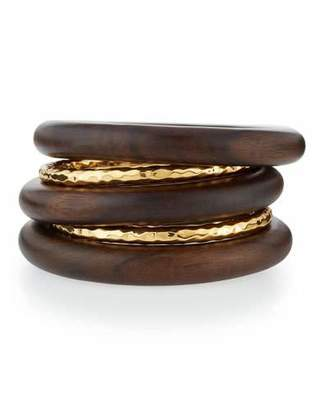 NEST Jewelry 5-Piece 22K Gold-Plate & Ebony Wood Bangle Set $250 thestylecure.com