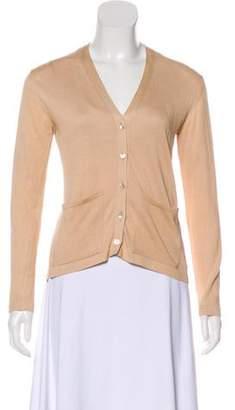 Malo Silk-Blend Knit Cardigan Beige Silk-Blend Knit Cardigan