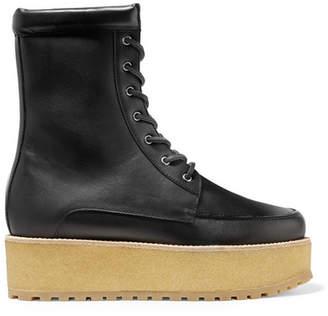 Gabriela Hearst David Leather Platform Ankle Boots - Black