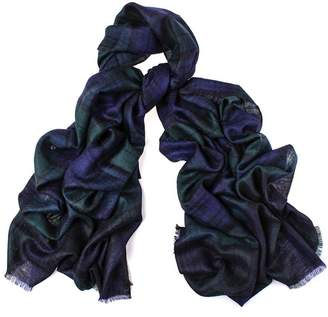 Black Oversized Watch Tartan Cashmere Scarf