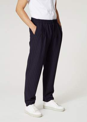 Giorgio Armani Pants With Pleats In Plain Pinstripe Ramie Blend Fabric