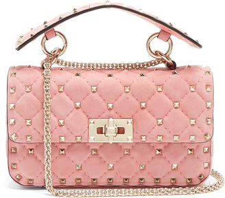 VALENTINO Rockstud Spike small quilted-suede shoulder bag $2,195 thestylecure.com