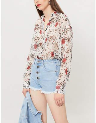 The Kooples Floral-print silk-georgette shirt