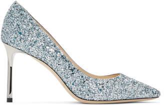 Jimmy Choo Silver and Blue Glitter Romy 85 Heels