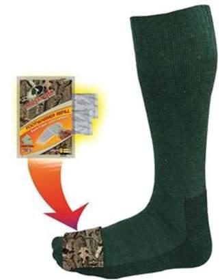 Factory Heat Mid-Calf Socks with Foot Heat Warmer Pockets, Mossy Oak/Olive, Medium/Large