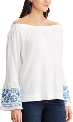 Chaps Women's Embroidered Off-the Shoulder Top