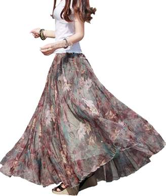 Femirah Women's Chiffon Floral Pleated Midi Skirt Beach Long Dress Maxi Skirt