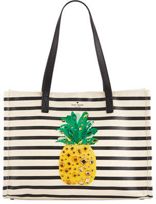 Kate Spade By The Pool Canvas Pineapple Tote Bag