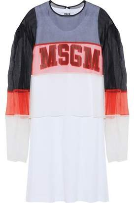 MSGM Layered Color-Block Silk-Organza And Printed Cotton-Jersey Dress