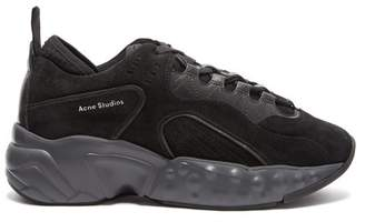 Acne Studios Manhattan Suede Low Top Trainers - Womens - Black