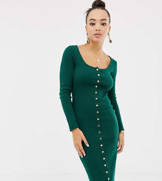 Missguided bodycon popper down midi dress in green