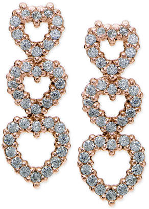 Giani Bernini Cubic Zirconia Pave Triple Heart Drop Sterling Silver Earrings, Created for Macy's