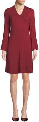 Neiman Marcus Long-Sleeve Paneled Tie-Front Dress
