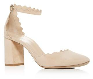 Chloé Women's Lauren Scalloped Suede Ankle-Strap Pumps