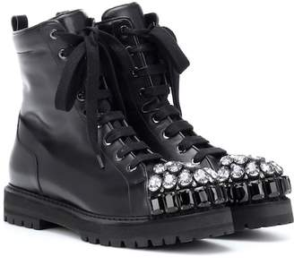 Rochas Embellished leather combat boots