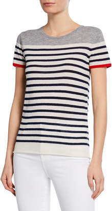 Majestic Striped Short-Sleeve Cashmere Tee