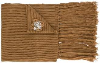 Twin-Set brooch embellished fringed scarf