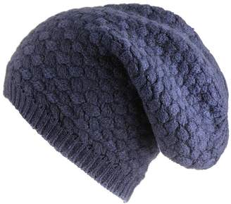 Black Navy Basketweave Cashmere Slouch Beanie