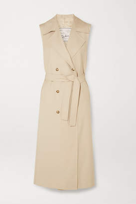 BEIGE Giuliva Heritage Collection - The Alex Belted Wool-gabardine Midi Dress