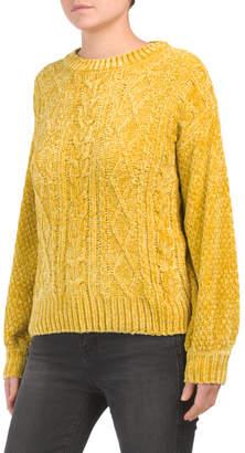 Long Sleeve Crew Neck Chenille Sweater