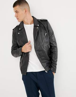Bellfield leather biker jacket in black