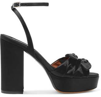Tabitha Simmons Jodie Bow-embellished Satin Platform Sandals - Black