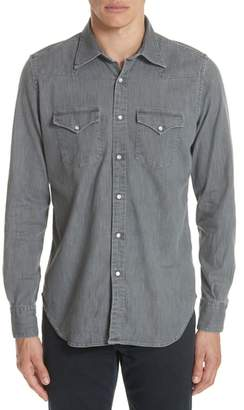 Eleventy Slim Fit Denim Western Shirt