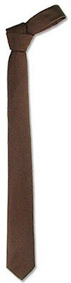 Forzieri Solid Brown Twill Silk Narrow Tie