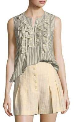 Rebecca Taylor Sleeveless Cotton Eyelet Stripe Top