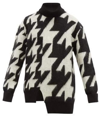 f51ebd727 Alexander McQueen Blown Out Houndstooth Mohair Blend Sweater - Mens - Black  White