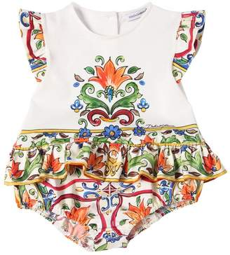 Dolce & Gabbana Maiolica Print Cotton Jersey Bodysuit