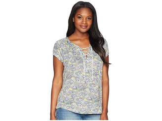 Chaps Lace-Up Jersey Top Women's Clothing