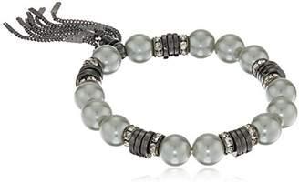 T Tahari Metal Silver Pearl Tassel Stretch Bracelet
