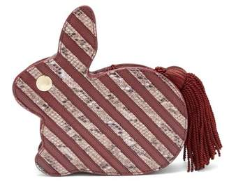 Hillier Bartley - Bunny Python Effect Striped Leather Clutch - Womens - Burgundy Multi