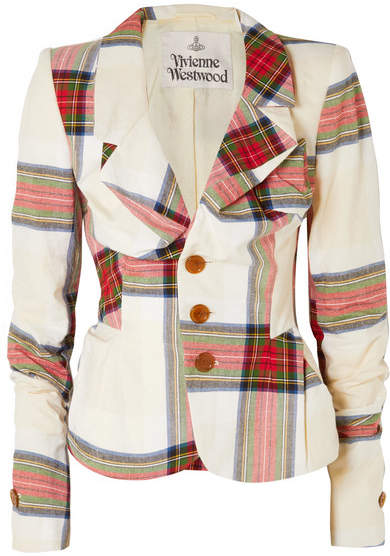Vivienne Westwood Alcoholic Tartan Cotton Blazer - Off-white