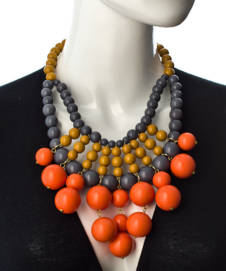 Blu Bijoux Orange Grey And Gold Beaded Large Bib Necklace