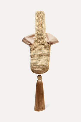 Johanna Ortiz Tasseled Striped Woven Straw Tote - Beige