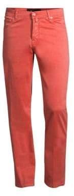 Kiton Men's Stretch Silk-Blend Five-Pocket Pants - Red - Size 38