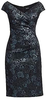 Teri Jon by Rickie Freeman Women's Off-Shoulder Ruched Jacquard Sheath Dress