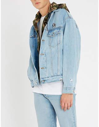 Aape Detachable hood denim and stretch-jersey jacket