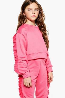 boohoo Girls Micro Ruffle Sleeve Sweat Top
