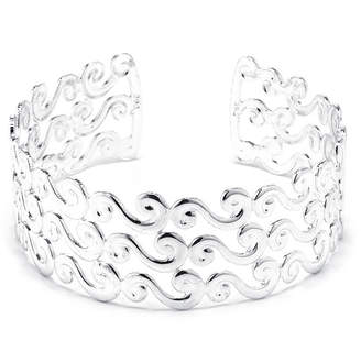 SPARKLE ALLURE Dazzling Designs Silver-Plated Brass Wave Cuff Bracelet