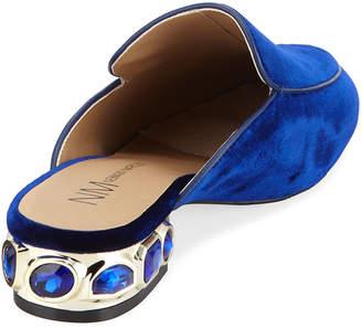 Neiman Marcus Adria Velvet Mules with Jeweled Heel, Blue