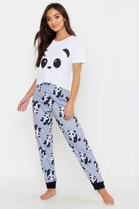 boohoo Petite Panda Printed PJ Trouser Set